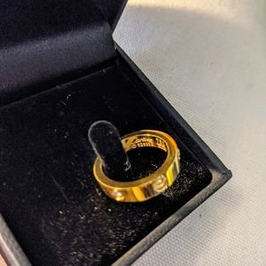 New Gold Love Ring with Studs